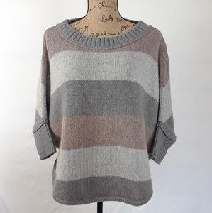 LOFT poncho sweater striped gray rose size MP